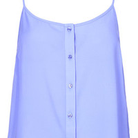Button Front Cami - Bluebell