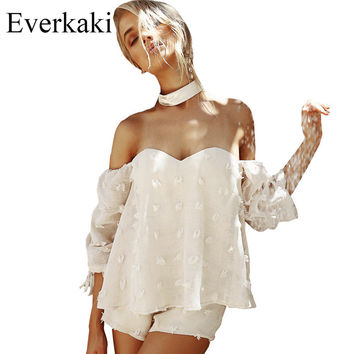 Everkaki 2017 Off the shoulder Halter white lace summer Playsuits Women sexy Strapless Half sleeve Causal romper Solid jumpsuit