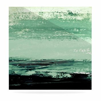 """Iris Lehnhardt """"Minimal Scape"""" Green Abstract Painting Luxe Square Panel"""