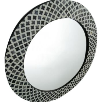 Wall Mirror Round Bone Inlay - Black | Handmade Moroccan Mirror Boho Chic Decor | Free Shipping