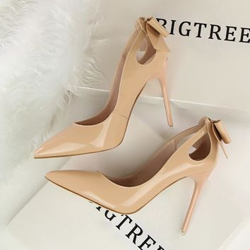 New Autumn Spring Elegant Pumps High-heeled Shoes Bow Patant Leather Thin High Heels S