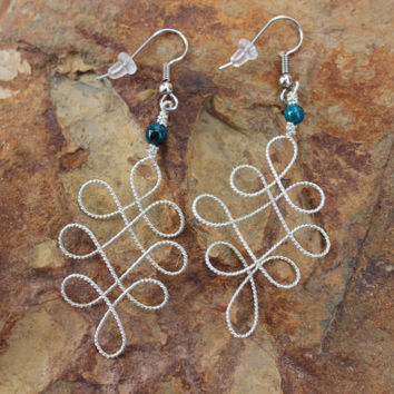 Fancy Ornate Silver Rope Textured Wire Wrapped Earrings, Teal Australian Sapphire Jasper Earrings Gift Nature Inspired Jewelry For Women