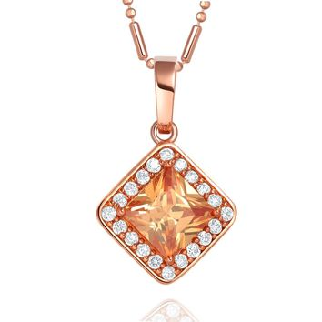 Small Fancy Princess Cut Good Luck Charm Amulet Gold-Tone Champagne Crystals 18 Inch Necklace