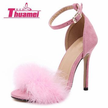 Women Fur 4 Inch Heel Stiletto With Ankle Pin Buckle Closure