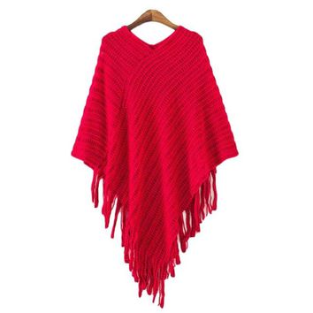 Women's Red Asymmetrical Hem Knit Sweater Poncho Top with Fringe Detail
