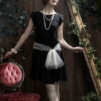 Creme Noeud Black Shift Dress with Cream Tulle Sash