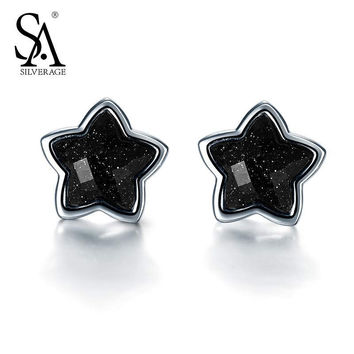 SA SILVERAGE Real 925 Sterling Silver Star Stud Earring