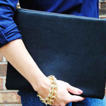 BLACK LEATHER CLUTCH, Evening bag, oversize purse, minimal clutch, black leather pouch, iPad case leather