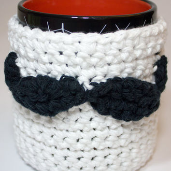 Mustache Mug Cozy - Movember Crochet Cotton Mustache Coffee Cozy