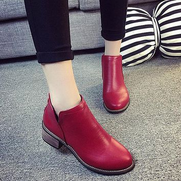 Fashion Leathe Back Zipper Slip On Flat Ankle Boots