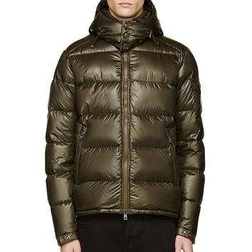 Moncler Olive Nylon Lacquered Down Zin Jacket