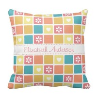 Girly Heart Square Pattern Retro Daisy Flowers Throw Pillows