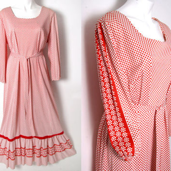 Vintage 70s Hippie Polka Dot Flower Plus Sz Poet Sleeves Maxi Dress XL-XXL