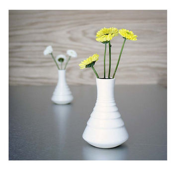 Ready To Ship Tiny White Ripple Vase by Sara Paloma by sarapaloma