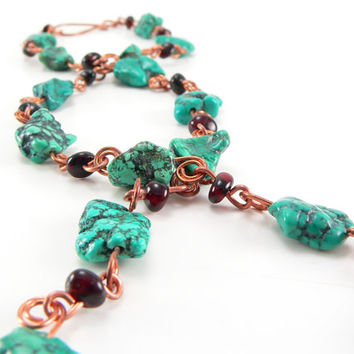 Baltic Turquoise ~ Baltic Amber, Genuine Hubei Turquoise and Copper ~ 23.5 inch Necklace ~ Handcrafted Copper Components