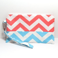 Chevron Zipper Bag - Cotton Wristlet Purse - Clutch - Chevron - Coral Aqua - Zippered Pouch - Swivel Clasp
