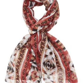 Ivory Combo Geometric Print Scarf by Charlotte Russe