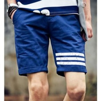Fashion Fitted Straight Leg Crimping Zipper Fly Men's Cotton Blend Striped Shorts
