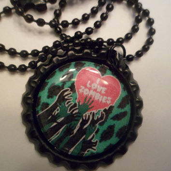 I love zombies bottle cap necklace