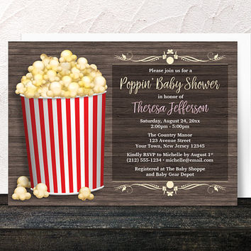 Popcorn Baby Shower Invitations - About to Pop Rustic Wood with Popcorn Bucket - Yellow and Red Gender Neutral design - Printed Invitations