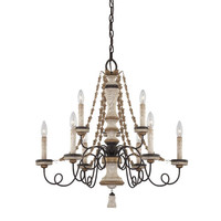 Minka-Lavery 1299-580 Accents Provence Patina Nine-Light Chandelier with White Patina Glass