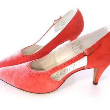 Vintage 50s Shoes Red Suede D'orsay Rockabilly by mysweetiepiepie