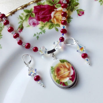 Broken China Jewelry Old Country Roses, Royal Albert China, Yellow Rose Necklace Earrings Set, Red Freshwater Pearls, Christmas Gift Wife