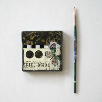 Butterfly Fridge Magnet, Miniature Mixed Media Painting, Mini Canvas, Original Miniature painting, Home Decor, Nature art