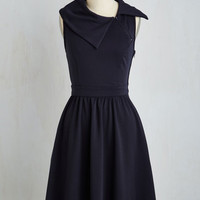 Long Strapless A-line Trolley Tour Dress in Navy