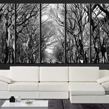 LARGE CANVAS ART - Dry Trees on Park Canvas Painting - Great Tree Silhouette Canvas Print | Ready Hanging, Great Print, Lake Canvas Prints - MC143
