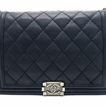 Chanel Quilting Calfskin Leather Boy Flap Silver Metal Flap Bag Blue