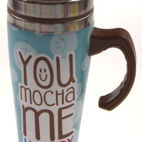 Coffee Mug You Mocha Me Happy Gift Insulated 16oz Travel Blue Dots