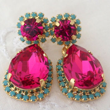 Ruby pink and turquoise Chandelier earrings, Dangle earrings, Swarovski rhinestones earrings, Drop earrings