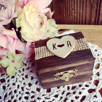 Rustic Chic Wood Ring Box Rustic Ring Bearer Box Ring Keepsake Box Rustic Wedding Ring Box Bridal Shower Ring Bearer Alternative country