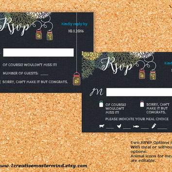 DIY Wedding Template rsvp response card, Instant Download, Editable PDF, Printable, Digital, Chalkboard Mason Jar and Fireflies #1CM77-1