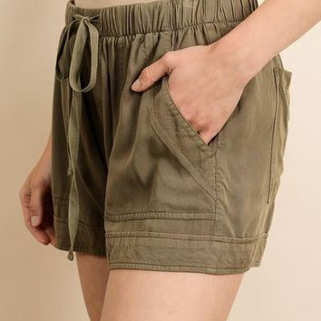 Let's Run Away Shorts - Olive