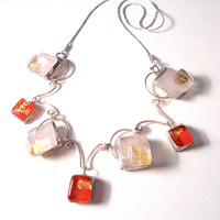 Artisan glass necklace,fused glass,orange glass,gold foil,silver necklace,glass and silver, short necklace, glass jewelry, tiffany,unique