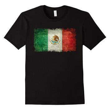 Flag of Mexico with Coat of Arms Grungy T-Shirt