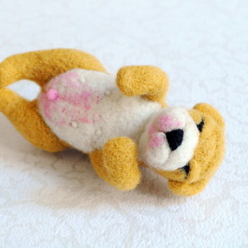 Needle Felted Sleepy Puppy - Felt Dog, Soft Animal, Felt Plush, Realistic Dog, Stuffed Doll