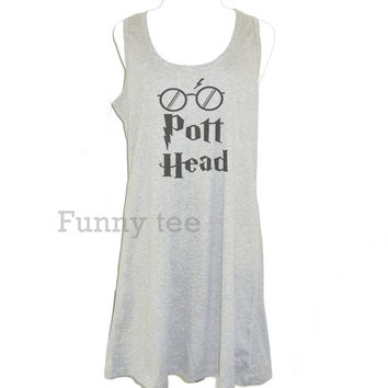 Pott Head tank top dress Harry Potter clothing size XS S M L XL gray women tank top **A line tank **sleeveless dress