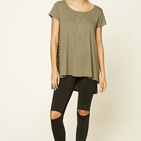 Oversized Lace-Up High-Low Top