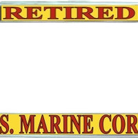 Marine Retired Metal License Plate Frame Holder Chrome, Black or Gold for Auto Car Truck Marines USMC