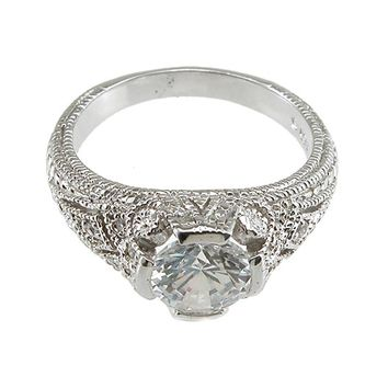 Plutus Brands 925 Sterling Silver Rhodium Finish CZ Brilliant Solitaire Engagement Ring 2 Carat Weight- Size 6