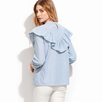 Blue Long Sleeve Lace Trim Ruffle Blouse