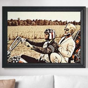 Easy Rider Movie Poster Motorcycle Art Canvas