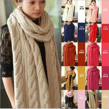 Scarf women 2013 Lady Long Wool Pashmina Warm Knit Hood Cowl Winter Neck Wrap Scarf Shawl
