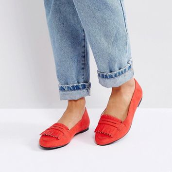 London Rebel Fringe Flat Slipper with Buckle at asos.com