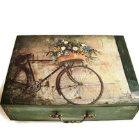 Large Jewelry Box Makeup organizer, Green box /drawer/ Vintage bicycle, Retro bicycle, Box memories, Decoupage box, Rustic decoration
