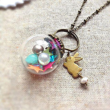 Antique Vintage Style Rabbit Glass Globe  Ring and Necklace