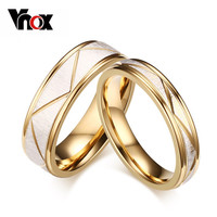 Vnox 18K Gold Plated Wedding Bands Rings For Love Matte Finish Stainless Steel Women Men Jewelry
